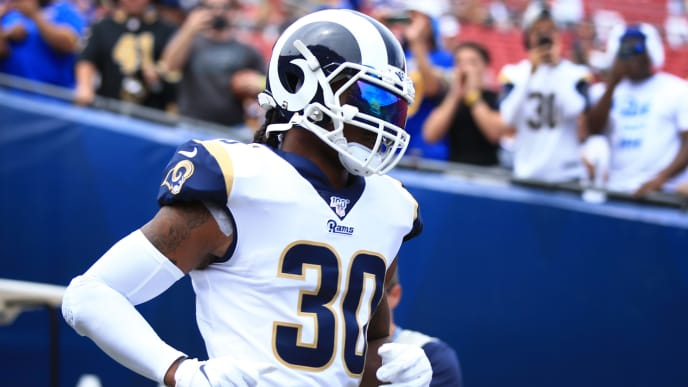 LOS ANGELES, CALIFORNIA - SEPTEMBER 15: Running back Todd Gurley #30 of the Los Angeles Rams runs onto the field ahead of the game against the New Orleans Saints at Los Angeles Memorial Coliseum on September 15, 2019 in Los Angeles, California. (Photo by Meg Oliphant/Getty Images)