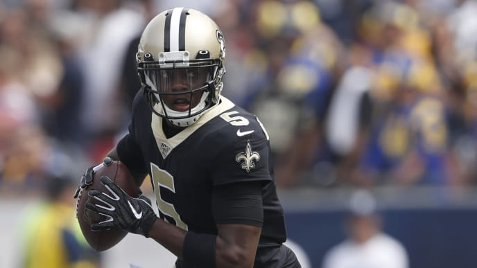 LOS ANGELES, CALIFORNIA - SEPTEMBER 15: Teddy Bridgewater #5 of the New Orleans Saints scrambles during the first half against the Los Angeles Rams in the game at Los Angeles Memorial Coliseum on September 15, 2019 in Los Angeles, California. (Photo by Sean M. Haffey/Getty Images)