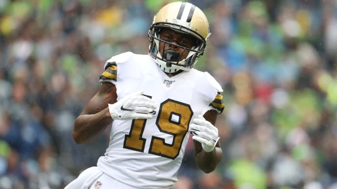 SEATTLE, WASHINGTON - SEPTEMBER 22: Ted Ginn #19 of the New Orleans Saints looks on against the Seattle Seahawks in the second quarter during their game at CenturyLink Field on September 22, 2019 in Seattle, Washington. (Photo by Abbie Parr/Getty Images)
