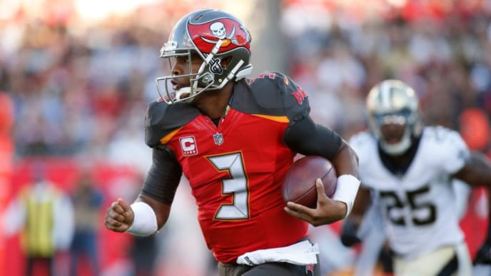 TAMPA, FL - DECEMBER 31:  Quarterback Jameis Winston #3 of the Tampa Bay Buccaneers runs for 17 yards during the first quarter of an NFL football game against the New Orleans Saints on December 31, 2017 at Raymond James Stadium in Tampa, Florida. (Photo by Brian Blanco/Getty Images)