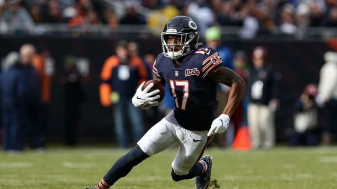 CHICAGO, ILLINOIS - NOVEMBER 24: Anthony Miller #17 of the Chicago Bears runs with the ball in the second quarter against the New York Giants at Soldier Field on November 24, 2019 in Chicago, Illinois. (Photo by Dylan Buell/Getty Images)