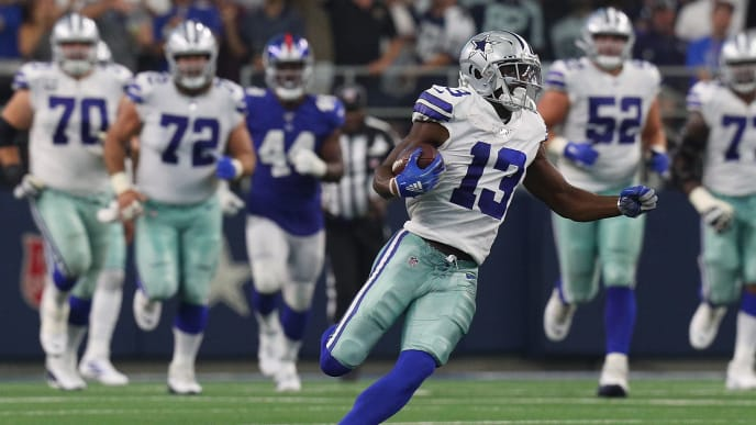 ARLINGTON, TEXAS - SEPTEMBER 08: Michael Gallup #13 of the Dallas Cowboys carries the ball in the third quarter against the New York Giants at AT&T Stadium on September 08, 2019 in Arlington, Texas. (Photo by Richard Rodriguez/Getty Images)