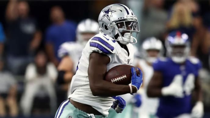 ARLINGTON, TEXAS - SEPTEMBER 08:  Michael Gallup #13 of the Dallas Cowboys makes a catch and run for 62-yards against the New York Giants at AT&T Stadium on September 08, 2019 in Arlington, Texas. (Photo by Ronald Martinez/Getty Images)