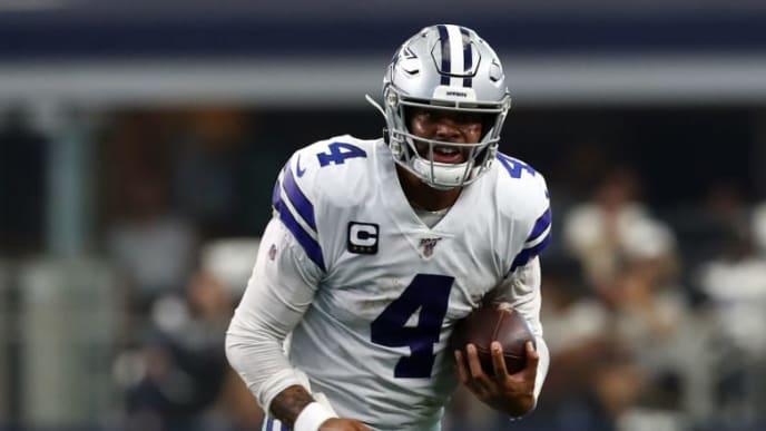 ARLINGTON, TEXAS - SEPTEMBER 08:  Dak Prescott #4 of the Dallas Cowboys at AT&T Stadium on September 08, 2019 in Arlington, Texas. (Photo by Ronald Martinez/Getty Images)