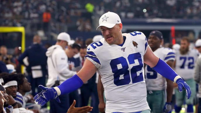 ARLINGTON, TEXAS - SEPTEMBER 08: Jason Witten #82 of the Dallas Cowboys celebrates on the sidelines in the fourth quarter against the New York Giants at AT&T Stadium on September 08, 2019 in Arlington, Texas. (Photo by Richard Rodriguez/Getty Images)