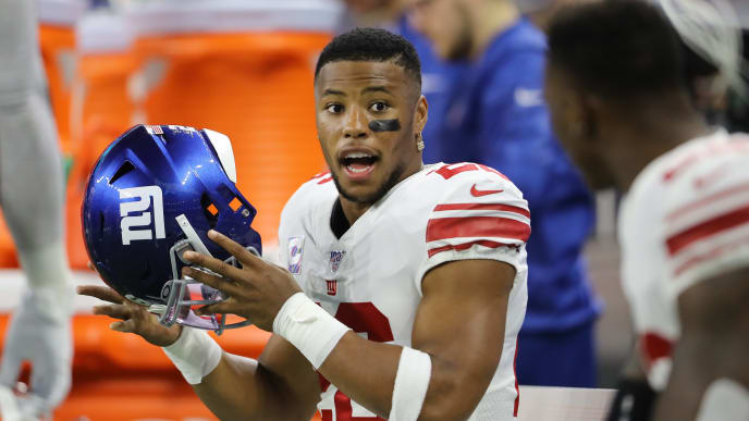 DETROIT, MI - OCTOBER 27: Saquon Barkley #26 of the New York Giants on the bench prior to the start of the game against the Detroit Lions at Ford Field on October 27, 2019 in Detroit, Michigan. (Photo by Rey Del Rio/Getty Images)