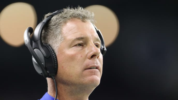 DETROIT, MI - OCTOBER 27: Head coach Pat Shurmur of the New York Giants looks on in the third quarter during a game against the Detroit Lionsat Ford Field on October 27, 2019 in Detroit, Michigan. (Photo by Rey Del Rio/Getty Images)