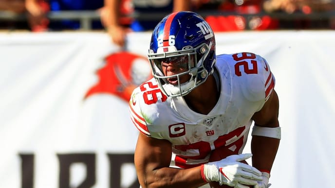 TAMPA, FLORIDA - SEPTEMBER 22: Saquon Barkley #26 of the New York Giants rushes during a game against the New York Giants at Raymond James Stadium on September 22, 2019 in Tampa, Florida. (Photo by Mike Ehrmann/Getty Images)