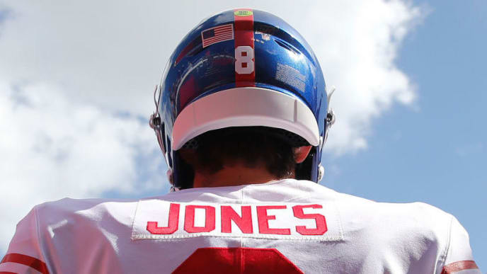 TAMPA, FLORIDA - SEPTEMBER 22: Quarterback Daniel Jones #8 of the New York Giants waits in the tunnel during pre-game before the game against the Tampa Bay Buccaneers at Raymond James Stadium on September 22, 2019 in Tampa, Florida. (Photo by Mike Zarrilli/Getty Images)