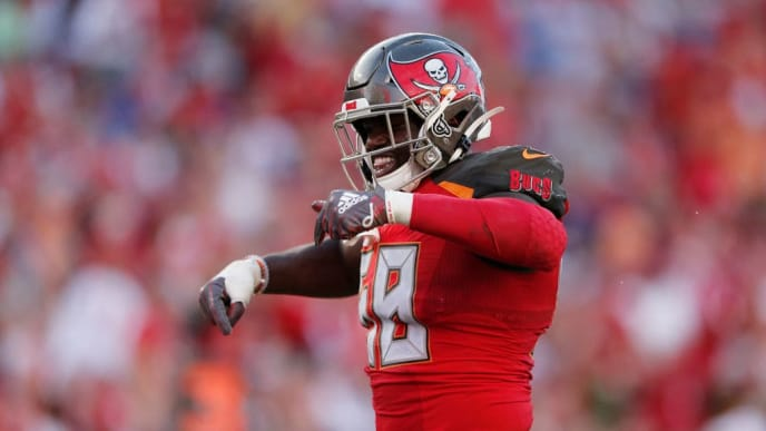TAMPA, FLORIDA - SEPTEMBER 22:  Shaquil Barrett #58 of the Tampa Bay Buccaneers reacts after a sack against the New York Giants during the fourth quarter at Raymond James Stadium on September 22, 2019 in Tampa, Florida. (Photo by Michael Reaves/Getty Images)