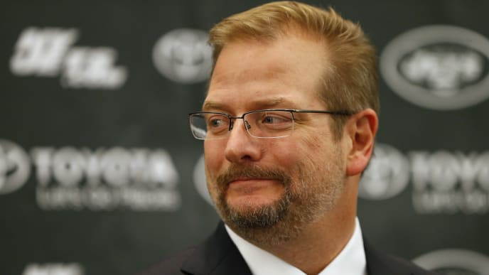 FLORHAM PARK, NJ - JANUARY 21: New York Jets General Manager Mike Maccagnan addresses the media  during a press conference on January 21, 2015 in Florham Park, New Jersey. Maccagnan and Head Coach Todd Bowles were both introduced for the first time. (Photo by Rich Schultz /Getty Images)