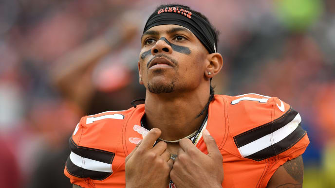 CLEVELAND, OH - OCTOBER 30:  Terrelle Pryor #11 of the Cleveland Browns looks on during the fourth quarter against the New York Jets at FirstEnergy Stadium on October 30, 2016 in Cleveland, Ohio. (Photo by Jason Miller/Getty Images)