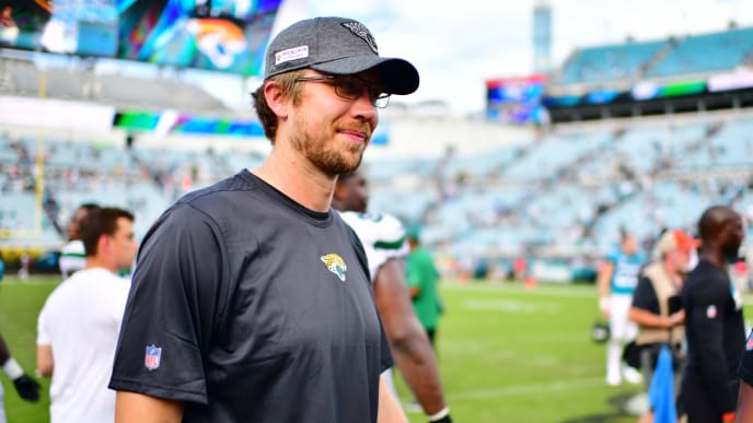JACKSONVILLE, FLORIDA - OCTOBER 27: Nick Foles #7 of the Jacksonville Jaguars walks on the field after a 29-15 win over the New York Jets at TIAA Bank Field on October 27, 2019 in Jacksonville, Florida. (Photo by Julio Aguilar/Getty Images)
