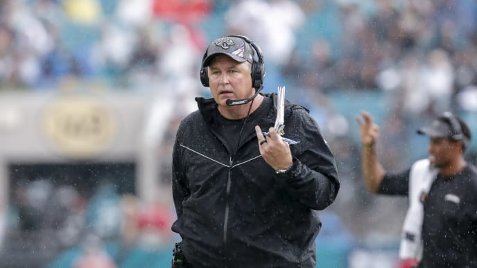 JACKSONVILLE, FL - OCTOBER 27: Head Coach Doug Marrone of the Jacksonville Jaguars walks the sideline during the game against the New York Jets at TIAA Bank Field on October 27, 2019 in Jacksonville, Florida. The Jaguars defeated The Jets 29 to 15. (Photo by Don Juan Moore/Getty Images)