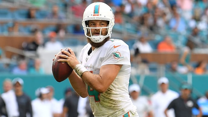 MIAMI, FLORIDA - NOVEMBER 03: Ryan Fitzpatrick #14 of the Miami Dolphins looks to pass against the New York Jets in the third quarter at Hard Rock Stadium on November 03, 2019 in Miami, Florida. (Photo by Mark Brown/Getty Images)