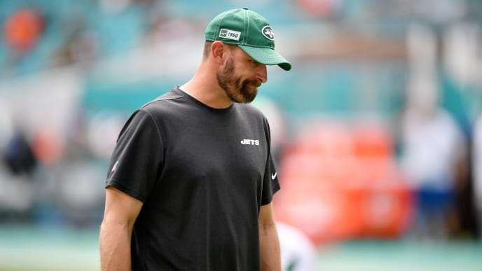 MIAMI, FLORIDA - NOVEMBER 03: Head Coach Adam Gase of the New York Jets looks on during warms up prior to the game against the Miami Dolphins at Hard Rock Stadium on November 03, 2019 in Miami, Florida. (Photo by Mark Brown/Getty Images)