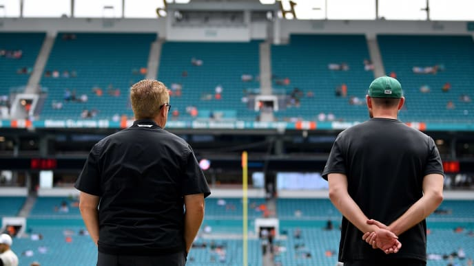 MIAMI, FLORIDA - NOVEMBER 03: (L-R) Defensive coordinator Gregg Williams and Head Coach Adam Gase of the New York Jets watch warms up prior to the game against the Miami Dolphins at Hard Rock Stadium on November 03, 2019 in Miami, Florida. (Photo by Mark Brown/Getty Images)