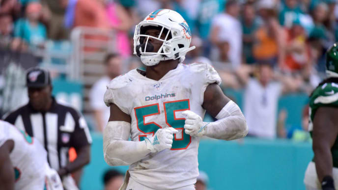 MIAMI, FL - NOVEMBER 03: Jerome Baker #55 of the Miami Dolphins dances after a safety in the fourth quarter against the New York Jets at Hard Rock Stadium on November 3, 2019 in Miami, Florida. (Photo by Eric Espada/Getty Images)