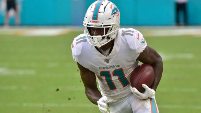 MIAMI, FL - NOVEMBER 03: DeVante Parker #11 of the Miami Dolphins runs up field after a catch during the fourth quarter against the New York Jets at Hard Rock Stadium on November 3, 2019 in Miami, Florida. (Photo by Eric Espada/Getty Images)