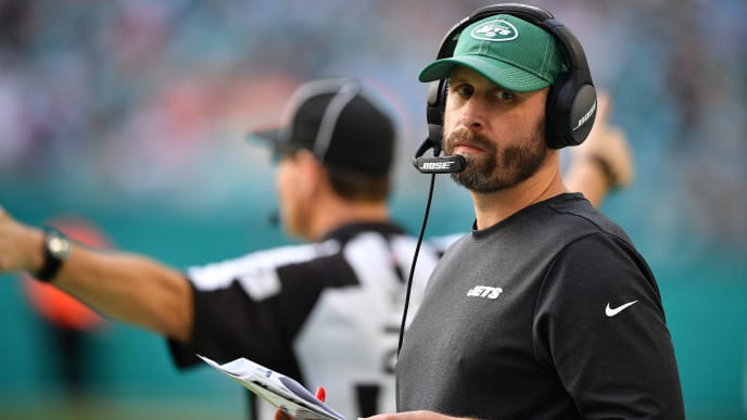 MIAMI, FLORIDA - NOVEMBER 03: Head Coach Adam Gase of the New York Jets coaching against the Miami Dolphins in the first quarter at Hard Rock Stadium on November 03, 2019 in Miami, Florida. (Photo by Mark Brown/Getty Images)