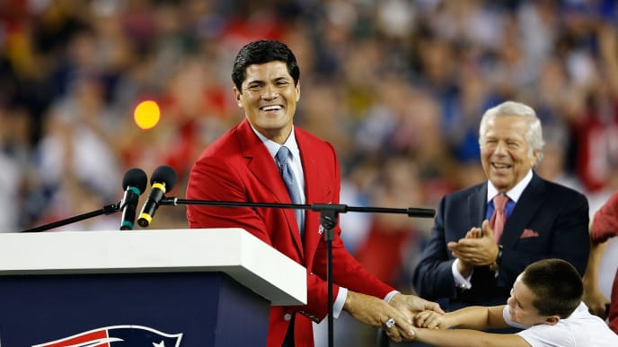 FOXBORO, MA - SEPTEMBER 12:  Tedy Bruschi reacts during a ceremony in his honor at Gillette Stadium at the half time of a game between the New England Patriots and the New York Jets on September 12, 2013 in Foxboro, Massachusetts. (Photo by Jim Rogash/Getty Images)