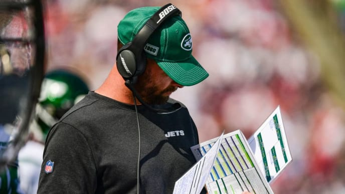FOXBOROUGH, MA - SEPTEMBER 22: Head coach Adam Gase of the New York Jets looks on during the second quarter of a game against the New England Patriots at Gillette Stadium on September 22, 2019 in Foxborough, Massachusetts. (Photo by Billie Weiss/Getty Images)