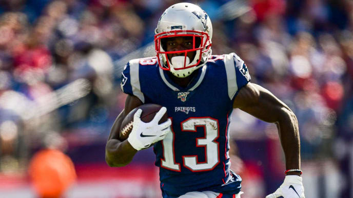 FOXBOROUGH, MA - SEPTEMBER 22: Phillip Dorsett #13 of the New England Patriots carries the ball during the third quarter of a game against the New York Jets at Gillette Stadium on September 22, 2019 in Foxborough, Massachusetts. (Photo by Billie Weiss/Getty Images)
