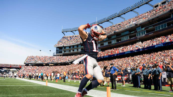 FOXBOROUGH, MA - SEPTEMBER 22: Julian Edelman #11 of the New England Patriots reacts after running onto the field prior to the start of the game against the New York Jets at Gillette Stadium on September 22, 2019 in Foxborough, Massachusetts. (Photo by Kathryn Riley/Getty Images)