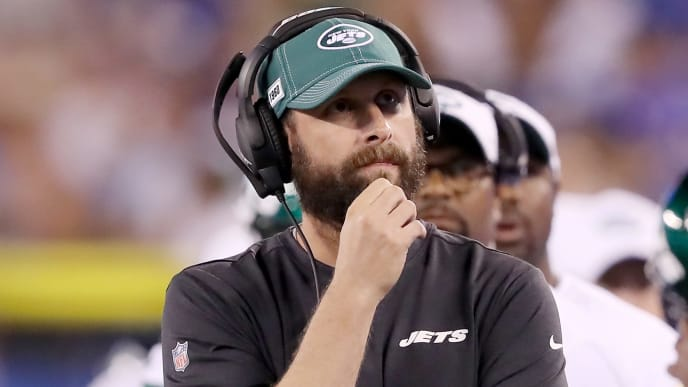 EAST RUTHERFORD, NEW JERSEY - AUGUST 08: Head coach Adam Gase of the New York Jets walks the sideline during a preseason game against the New York Giants at MetLife Stadium on August 08, 2019 in East Rutherford, New Jersey. (Photo by Elsa/Getty Images)