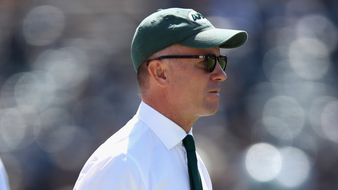 OAKLAND, CA - SEPTEMBER 17:  Christopher Wold Johnson, the brother of the New York Jets owner Woody Johnson and the head of day-to-day operations of the Jets, stands on the field before their game against the Oakland Raiders at Oakland-Alameda County Coliseum on September 17, 2017 in Oakland, California.  (Photo by Ezra Shaw/Getty Images)