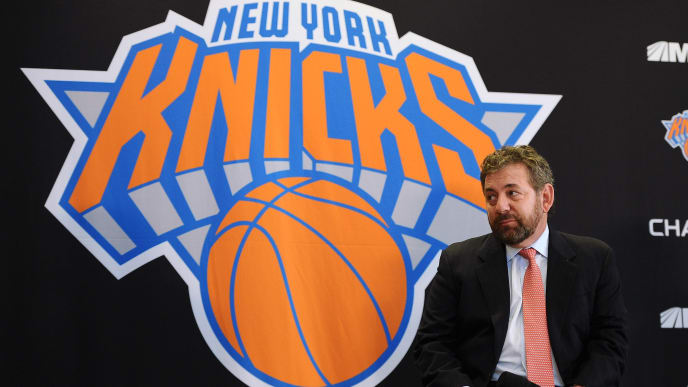 NEW YORK, NY - MARCH 18: James Dolan, Executive Chairman of Madison Square Garden looks on during the press conference to introduce Phil Jackson as President of the New York Knicks at Madison Square Garden on March 18, 2014 in New York City.  (Photo by Maddie Meyer/Getty Images)