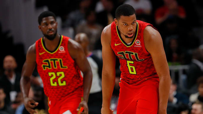 ATLANTA, GA - NOVEMBER 07:  Omari Spellman #6 of the Atlanta Hawks reacts after hitting a three-point basket against the New York Knicks at State Farm Arena on November 7, 2018 in Atlanta, Georgia.  NOTE TO USER: User expressly acknowledges and agrees that, by downloading and or using this photograph, User is consenting to the terms and conditions of the Getty Images License Agreement.  (Photo by Kevin C. Cox/Getty Images)