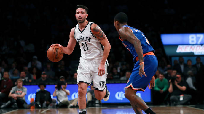 NEW YORK, NY - OCTOBER 20:  Greivis Vasquez #21 of the Brooklyn Nets dribbles up the court against Brandon Jennings #3 of the New York Knicks during the first half of their preseason game at Barclays Center on October 20, 2016 in New York City. NOTE TO USER: User expressly acknowledges and agrees that, by downloading and or using this photograph, User is consenting to the terms and conditions of the Getty Images License Agreement.  (Photo by Michael Reaves/Getty Images)