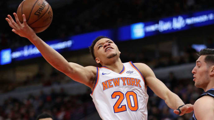 CHICAGO, IL - APRIL 9:  Kevin Knox #20 of the New York Knicks tries to get off a shot against the Chicago Bulls at the United Center on April 09, 2019 in Chicago, Illinois.NOTE TO USER: User expressly acknowledges and agrees that, by downloading and or using this photograph, User is consenting to the terms and conditions of the Getty Images License Agreement. (Photo by Jonathan Daniel/Getty Images)