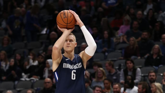 DALLAS, TEXAS - NOVEMBER 08:  Kristaps Porzingis #6 of the Dallas Mavericks takes a shot against the New York Knicks in the second half at American Airlines Center on November 08, 2019 in Dallas, Texas.  NOTE TO USER: User expressly acknowledges and agrees that, by downloading and or using this photograph, User is consenting to the terms and conditions of the Getty Images License Agreement. (Photo by Ronald Martinez/Getty Images)