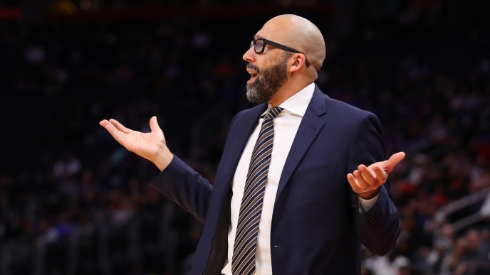 DETROIT, MICHIGAN - NOVEMBER 06: Head coach David Fizdale of the New York Knicks reacts while playing the Detroit Pistons at Little Caesars Arena on November 06, 2019 in Detroit, Michigan. Detroit won the game 122-102. NOTE TO USER: User expressly acknowledges and agrees that, by downloading and/or using this photograph, user is consenting to the terms and conditions of the Getty Images License Agreement.  (Photo by Gregory Shamus/Getty Images)
