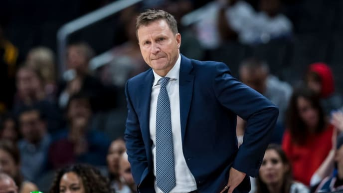 WASHINGTON, DC - OCTOBER 07: Head coach Scott Brooks looks on against the New York Knicks during the first half at Capital One Arena on October 7, 2019 in Washington, DC. NOTE TO USER: User expressly acknowledges and agrees that, by downloading and or using this photograph, User is consenting to the terms and conditions of the Getty Images License Agreement. (Photo by Scott Taetsch/Getty Images)