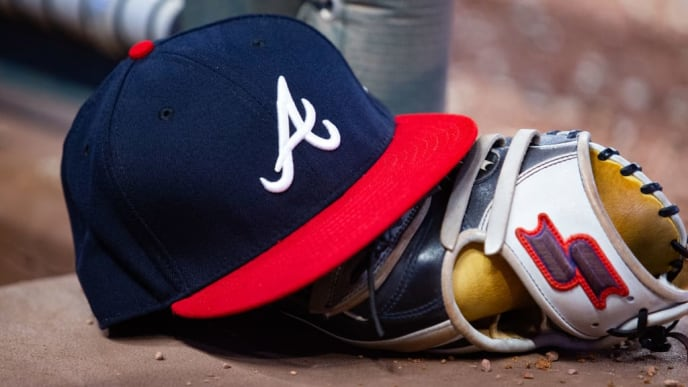 ATLANTA, GA - AUGUST 13: An Atlanta Braves hat is seen during the game against the New York Mets at SunTrust Park on August 13, 2019 in Atlanta, Georgia. (Photo by Carmen Mandato/Getty Images)