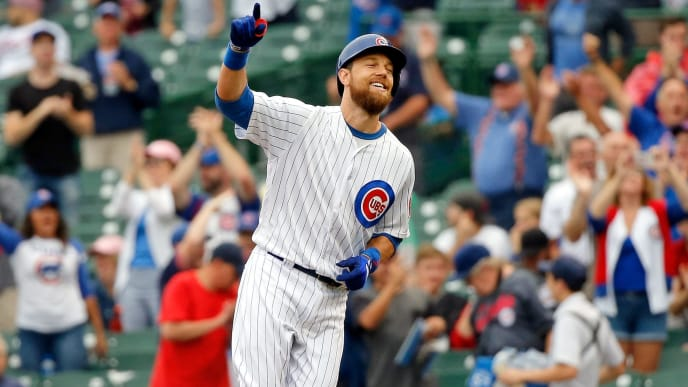 CHICAGO, IL - AUGUST 29: Ben Zobrist #18 of the Chicago Cubs celebrates after hitting a walk-off RBI single against the New York Mets during the 11th inning at Wrigley Field on August 29, 2018 in Chicago, Illinois. The Chicago Cubs won 2-1. (Photo by Jon Durr/Getty Images)
