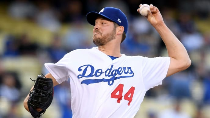 LOS ANGELES, CALIFORNIA - MAY 28:  Rich Hill #44 of the Los Angeles Dodgers pitches against the New York Mets during the first inning at Dodger Stadium on May 28, 2019 in Los Angeles, California. (Photo by Harry How/Getty Images)