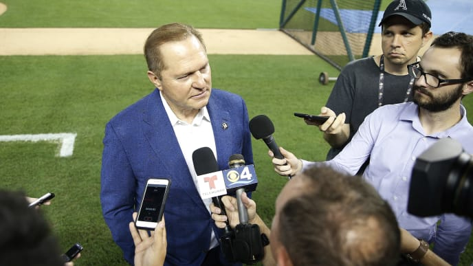 MIAMI, FLORIDA - JULY 12:  Agent Scott Boras prior to the game between the Miami Marlins and the New York Mets at Marlins Park on July 12, 2019 in Miami, Florida. (Photo by Michael Reaves/Getty Images)