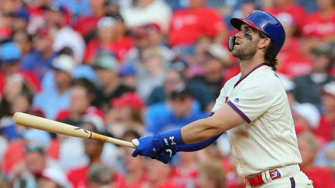 PHILADELPHIA, PA - AUGUST 31: Bryce Harper #3 of the Philadelphia Phillies hits a home run against the New York Mets during the sixth inning of a game at Citizens Bank Park on August 31, 2019 in Philadelphia, Pennsylvania. (Photo by Rich Schultz/Getty Images)