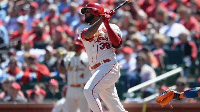 ST. LOUIS, MO - APRIL 20: Jose Martinez #38 of the St. Louis Cardinals hits a RBI single in the third inning against the New York Mets at Busch Stadium on April 20, 2019 in St. Louis, Missouri. (Photo by Michael B. Thomas /Getty Images)