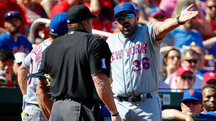 ST. LOUIS, MO - APRIL 21: Manager Mickey Callaway #36 of the New York Mets argues with umpire Bruce Dreckman #1 after getting ejected from the game in the seventh inning against the St. Louis Cardinals at Busch Stadium on April 21, 2019 in St. Louis, Missouri.  (Photo by Dilip Vishwanat/Getty Images)