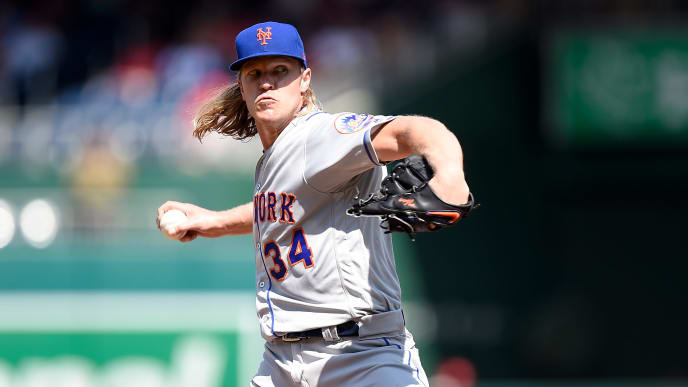 WASHINGTON, DC - SEPTEMBER 02:  Noah Syndergaard #34 of the New York Mets pitches in the second inning against the Washington Nationals at Nationals Park on September 2, 2019 in Washington, DC.  (Photo by Greg Fiume/Getty Images)