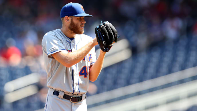 WASHINGTON, DC - SEPTEMBER 04: Starting pitcher Zack Wheeler #45 of the New York Mets throws to a Washington Nationals batter in the first inning at Nationals Park on September 04, 2019 in Washington, DC. (Photo by Rob Carr/Getty Images)
