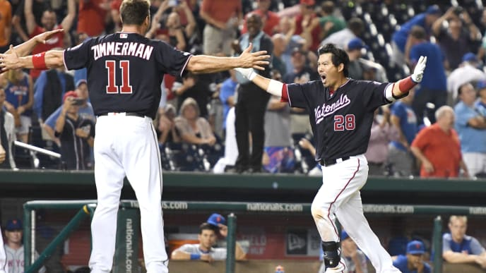 WASHINGTON, DC - SEPTEMBER 03:  Kurt Suzuki #28 of the Washington Nationals celebrates a walk off home run in the ninth inning with Ryan Zimmerman #11 during a baseball game against the New York Mets at Nationals Park on September 3, 2019 in Washington, DC.  (Photo by Mitchell Layton/Getty Images)