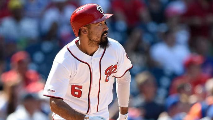 WASHINGTON, DC - SEPTEMBER 02:  Anthony Rendon #6 of the Washington Nationals hits a double in the seventh inning against the New York Mets at Nationals Park on September 2, 2019 in Washington, DC.  (Photo by Greg Fiume/Getty Images)