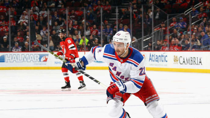NEWARK, NJ - DECEMBER 21: Kevin Shattenkirk #22 of the New York Rangers skates against the New Jersey Devils at the Prudential Center on December 21, 2017 in Newark, New Jersey.  (Photo by Bruce Bennett/Getty Images)