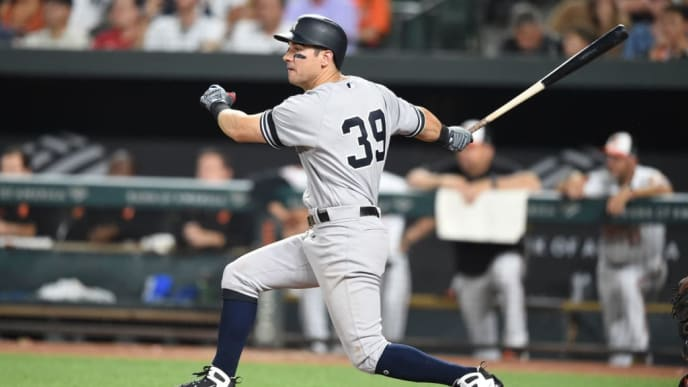 BALTIMORE, MD - AUGUST 05:  Mike Tauchman #39 of the New York Yankees hits a two-run home run in the eighth inning during a baseball game against the Baltimore Orioles at Oriole Park at Camden Yards on August 5, 2019 in Baltimore, Maryland.  (Photo by Mitchell Layton/Getty Images)